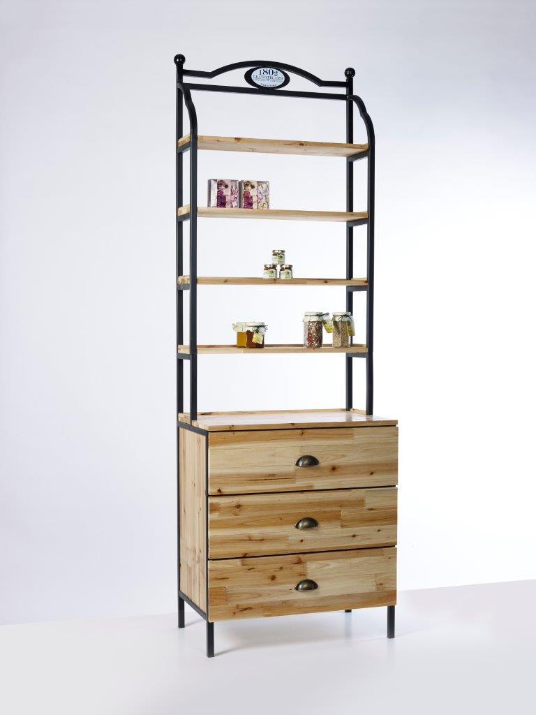 SC1203-Buyck Display-WOODEN AND METAL CABINET WITH SHELVES AND DRAWERS